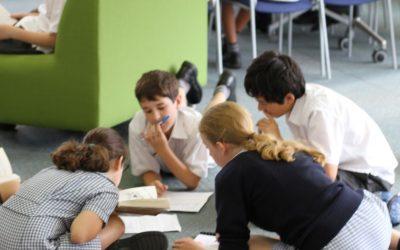 kids writing, square