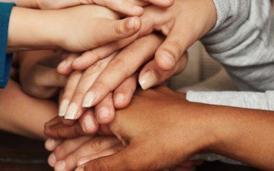 Children hands together, square